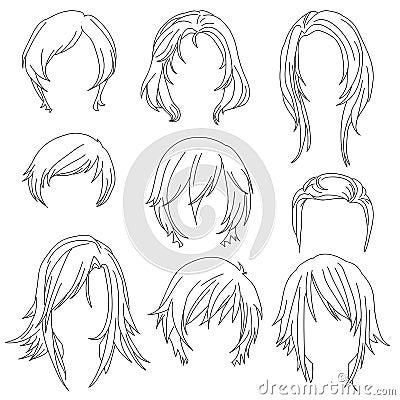 les cheveux d nommant pour le dessin de femme ont plac 2 illustration de vecteur image 62917438. Black Bedroom Furniture Sets. Home Design Ideas