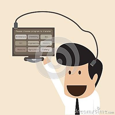 Les données de téléchargement d homme d affaires dans sa mémoire se dirigent