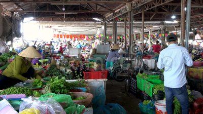 Les femmes locales calent des supports et des personnes à l'intérieur chez Hoi An Market, Vietnam clips vidéos