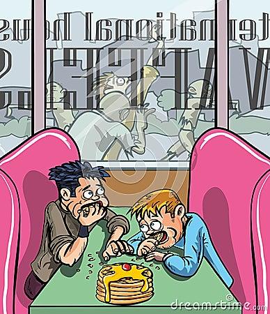 Les gens mangeant des gaufres