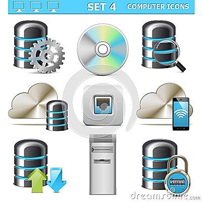 Les icônes d ordinateur de vecteur ont placé 4