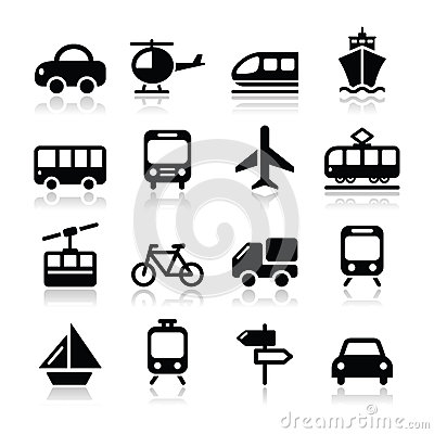 Le transport, icônes de voyage réglées isoalted sur le blanc