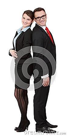 Les jeunes couples d affaires soutiennent dessus de retour
