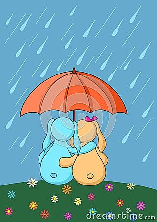 Les lièvres sont enamourés sous le parapluie
