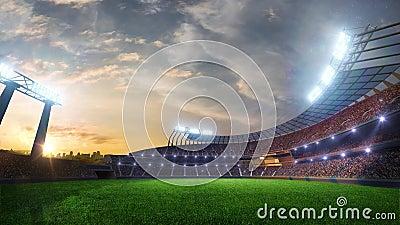 Les lumières mobiles de stade, éclair animé avec des personnes évente 3d rendent l'illustration nuageuse banque de vidéos