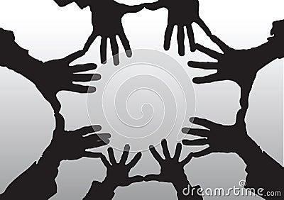 Les mains de dessin animé ouvrent la silhouette