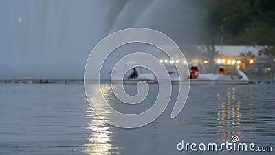 Les personnes brouillées montent le bateau de canard au parc public clips vidéos