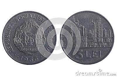 Les pièces de monnaie de la Roumanie se ferment vers le haut