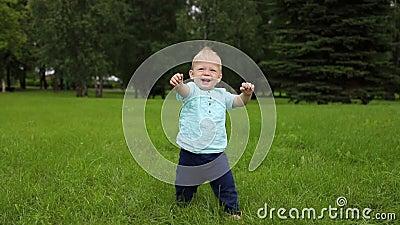 Les premiers pas du bébé L'enfant tient les mains devant lui pour garder l'équilibre banque de vidéos