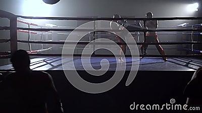 Les types dans les gants bat une poire, à l'arrière-plan dans l'anneau il y a une boxe d'entraînement des kickboxers Mouvement le banque de vidéos