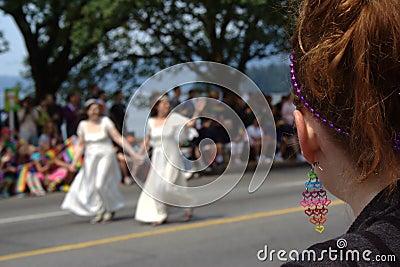 Lesbian Brides, Vancouver Gay Pride Parade Editorial Photography