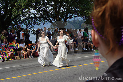 Lesbian Brides, Vancouver Gay Pride Parade Editorial Photography