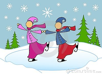 Lesbian Couple Skating Christmas Card