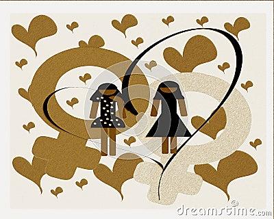 lesbian couple in love illustration