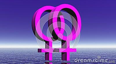 Lesbian love upon ocean