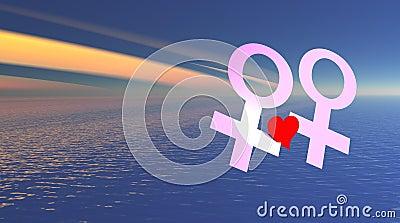 Lesbian love over the sea