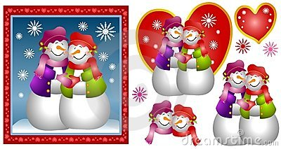 Lesbian Snow Woman Couple Card