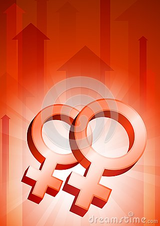 Lesbian Symbols on Red Arrow Background