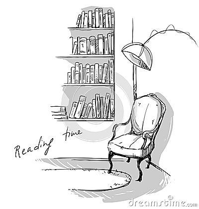 ... und ein Stuhl Vektorillustration ENV 10, Hand gezeichnet