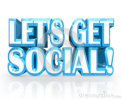 Let s Get Social 3D Words Invitation to Party