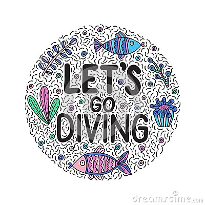 Free Let`s Go Giving. Lettering Quote With Cute Fishes And Seaweeds Stock Images - 122026714
