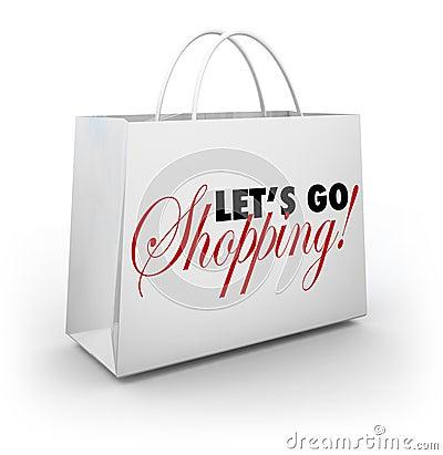 Let s Go Shopping White Merchandise Bag Words