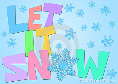 Let It Snow Freehand Drawn Text Snowflakes Color
