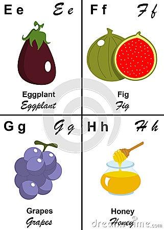 Letra da tabela do alfabeto de E a H