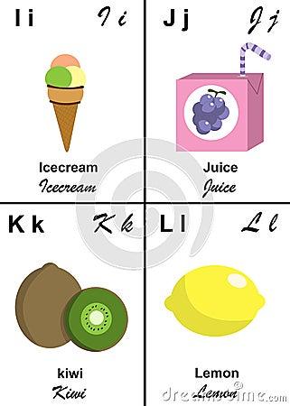 Letra da tabela do alfabeto de I a L