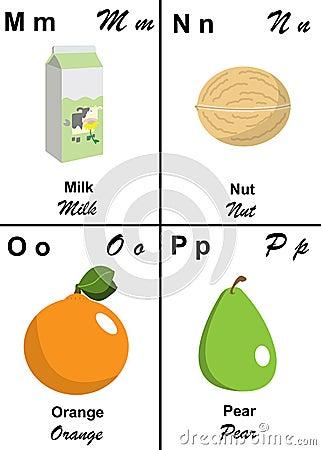 Letra da tabela do alfabeto de M a P