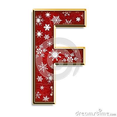 Letra F de la Navidad en rojo