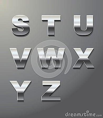 Letras brilhantes do metal
