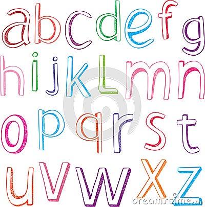 Letras desenhadas mão do alfabeto