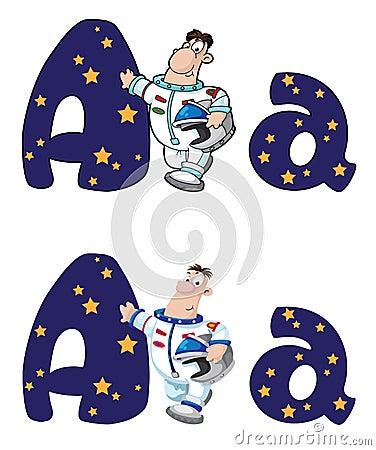 Letter A astronaut
