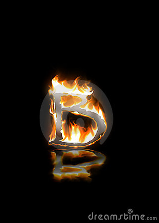 B Letter In Fire Burning letter b with