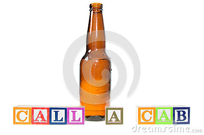 Letter blocks spelling call a cab with a beer bottle