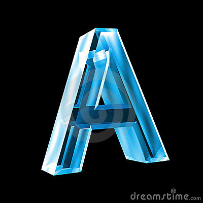 letter a in blue glass 3d stock photos image 5153463