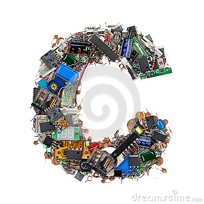 Free Letter C Made Of Electronic Components Stock Photos - 101165893