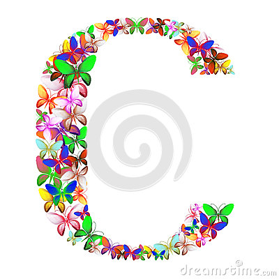 The letter C made up of lots of butterflies of different colors Stock Photo
