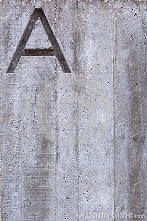 Letter A on Concrete Vertical
