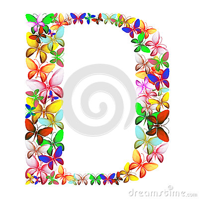 The letter D made up of lots of butterflies of different colors Stock Photo