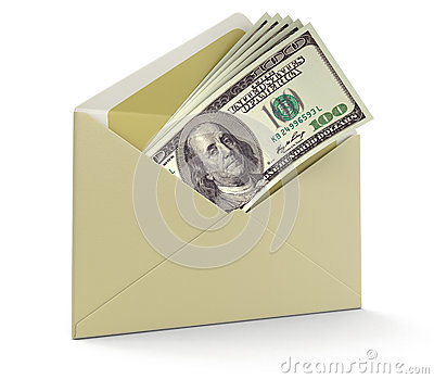 Letter and Dollars (clipping path included)