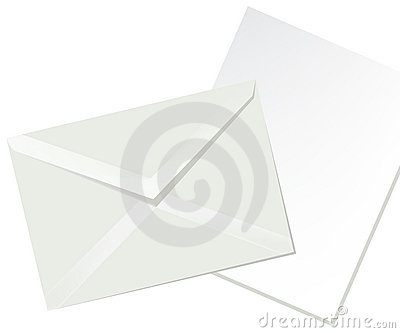 Letter envelope and white paper