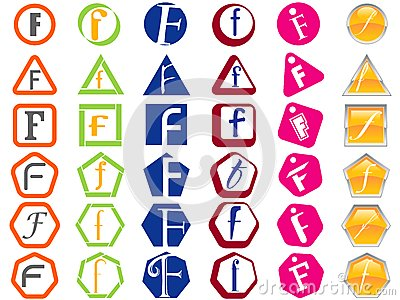 Letter F Icons Badges and Tags