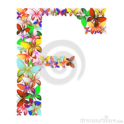 The letter F made up of lots of butterflies of different colors Stock Photo