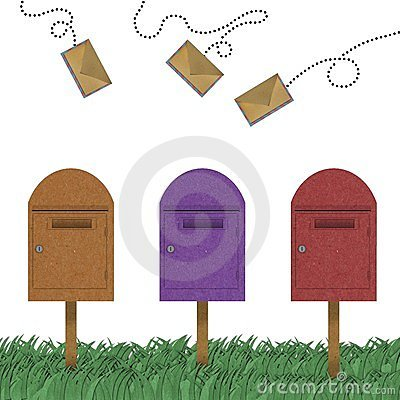 Letter flying above of postal box