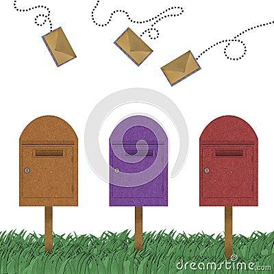 Letter flying above of postal box