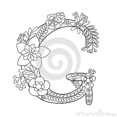 Floral Letters Coloring : Herbarium font type herbal vector letters stock 398210692