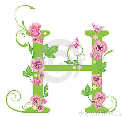 H Letter In Rose Letter H with roses