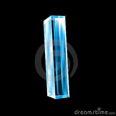 Letter I In Blue Glass 3D Stock Photo - Image: 5153560